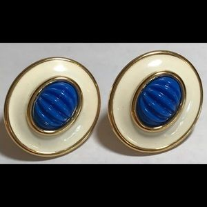 Monet Cobalt Blue Cream Gold Clip On Earrings